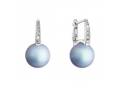 Stříbrné náušnice visací se Swarovski perlou a krystaly 31301.3 světle modré