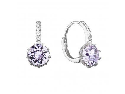 Stříbrné náušnice visací se Swarovski krystalem kulaté fialové 31302.3