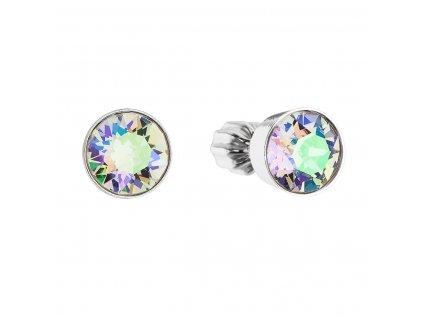 Stříbrné náušnice pecka s krystaly Swarovski zelené kulaté 31113.5
