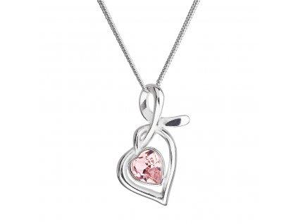 Stříbrný náhrdelník se Swarovski krystaly srdce růžové 32071.3