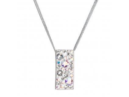 Stříbrný náhrdelník se Swarovski krystaly obdélník 32074.2 ab efekt