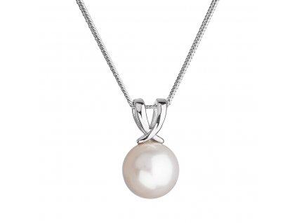 Stříbrný náhrdelník s kulatou říční perlou bílý 22032.1