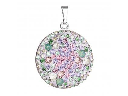 Stříbrný přívěsek s krystaly Swarovski mix barev fialová zelená růžová kulatý 34131.3