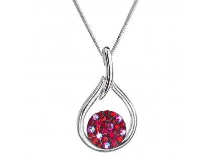 Stříbrný náhrdelník se Swarovski krystaly kapka 32075.3 cherry