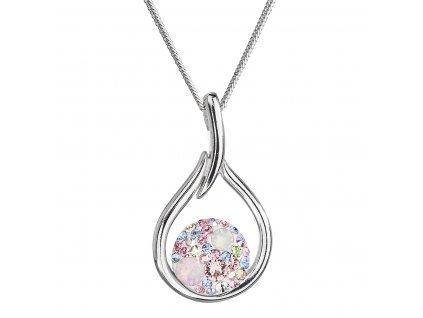 Stříbrný náhrdelník se Swarovski krystaly kapka 32075.3 magic rose