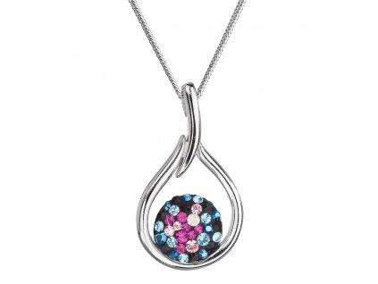 Stříbrný náhrdelník se Swarovski krystaly kapka 32075.4 galaxy