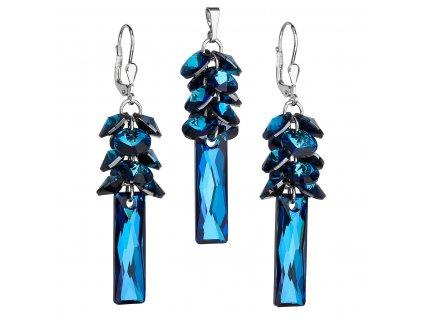 Sada šperků s krystaly Swarovski náušnice a přívěsek modrý hrozen 39124.5