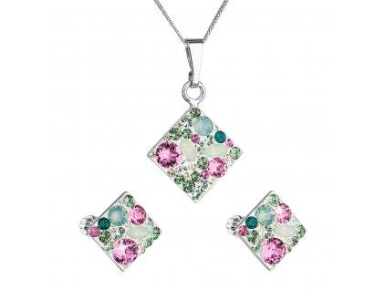 Sada šperků s krystaly Swarovski náušnice, řetízek a přívěsek zelený kosočtverec 39126.3 chrysolite