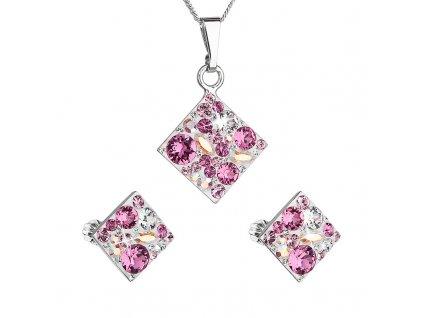Sada šperků s krystaly Swarovski náušnice, řetízek a přívěsek růžový kosočtverec 39126.3