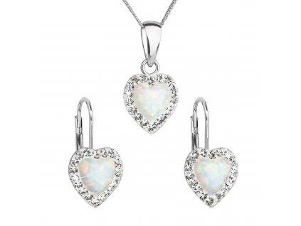 Sada šperků se syntetickým opálem a krystaly Preciosa náušnice a přívěšek bílé srdce 39161.1