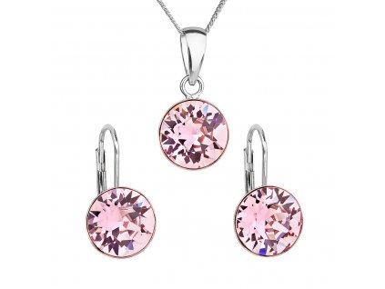 Sada šperků s krystaly Swarovski náušnice, řetízek a přívěsek růžové kulaté 39140.3