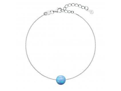 Stříbrný náramek se syntetickým opálem světle modrý kulatý 13019.3