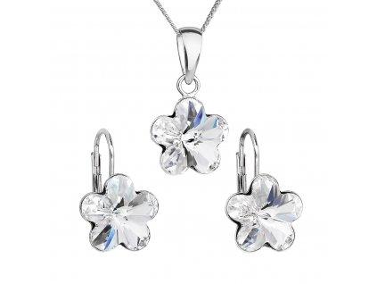 Sada šperků s krystaly Swarovski náušnice, řetízek a přívěsek bílá kytička 39143.1