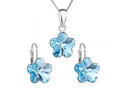 Sada šperků s krystaly Swarovski náušnice, řetízek a přívěsek modrá kytička 39143.3