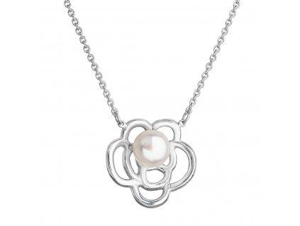 Perlový náhrdelník s pravou říční perlou bílá kytička 22034.1