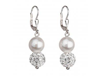 Stříbrné náušnice visací se syntetickými perlami a krystaly Preciosa bílé kulaté 31155.1