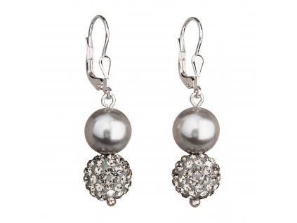 Stříbrné náušnice visací se syntetickými perlami a Preciosa krystaly šedé kulaté 31155.3