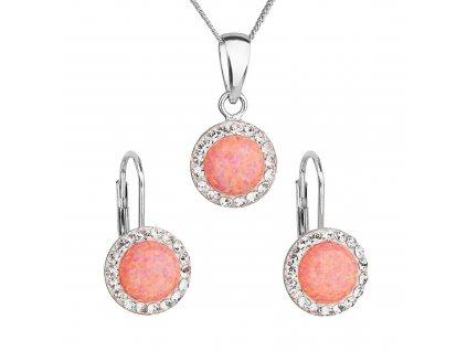 Sada šperků se syntetickým opálem a krystaly Preciosa náušnice a přívěsek oranžové kulaté 39160.1