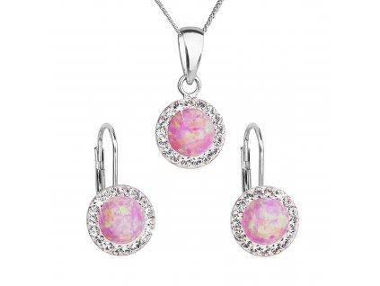 Sada šperků se syntetickým opálem a krystaly Preciosa náušnice a přívěšek světle růžové kulaté 39160.1
