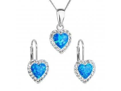 Sada šperků se syntetickým opálem a krystaly Preciosa náušnice a přívěšek modré srdce 39161.1