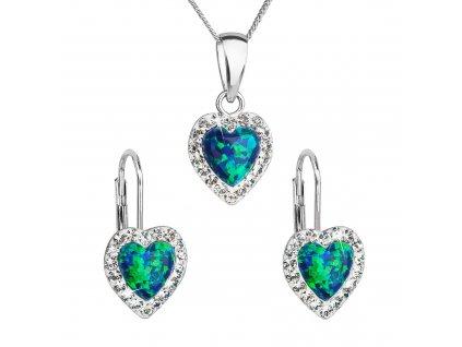 Sada šperků se syntetickým opálem a krystaly Preciosa náušnice a přívěšek zelené srdce 39161.1