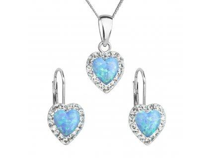 Sada šperků se syntetickým opálem a krystaly Preciosa náušnice a přívěšek světle modré srdce 39161.1
