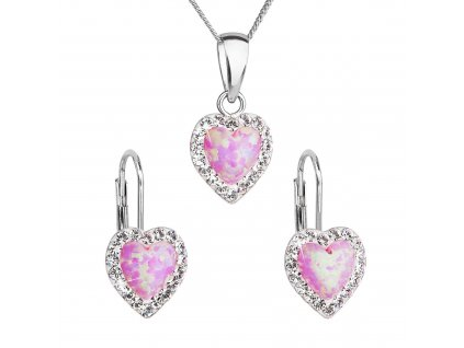 Sada šperků se syntetickým opálem a krystaly Preciosa náušnice a přívěšek světle růžové srdce 39161.1