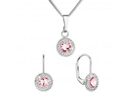 Sada šperků s krystaly Swarovski náušnice a přívěsek růžové kulaté 39109.3 lt. rose