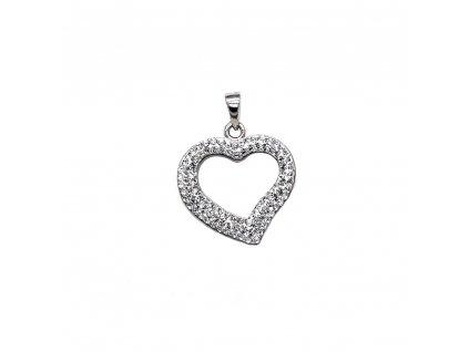 Stříbrný přívěsek s krystaly Swarovski bílé srdce 74093.1