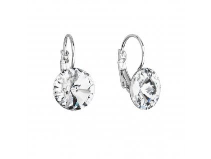 Náušnice bižuterie visací s Preciosa krystaly bílé kulaté 51076.1