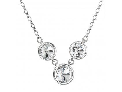 Stříbrný náhrdelník se Swarovski krystaly bílý kulatý 32033.1 crystal