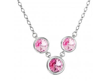Stříbrný náhrdelník se Swarovski krystaly růžový kulatý 32033.3 rosa