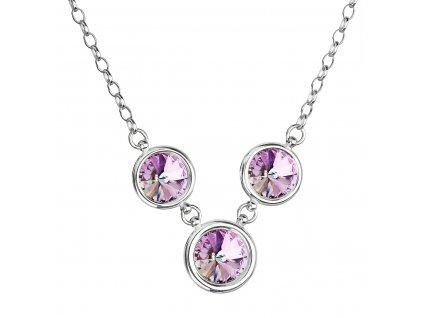 Stříbrný náhrdelník se Swarovski krystaly fialový kulatý 32033.3 vitrail light