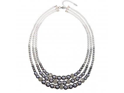 Perlový náhrdelník šedý s Preciosa krystaly 32010.3