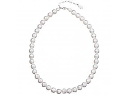 Perlový náhrdelník bílý s Preciosa krystaly 32011.1