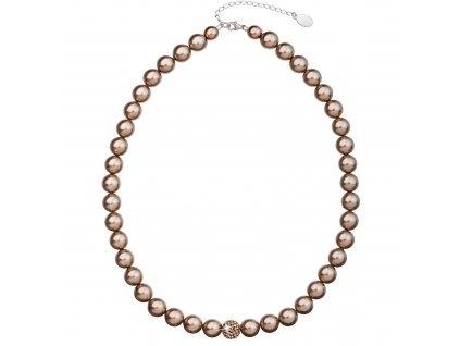 Perlový náhrdelník hnědý s Preciosa krystaly 32011.3