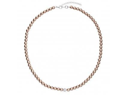 Perlový náhrdelník hnědý s Preciosa krystaly 32063.3