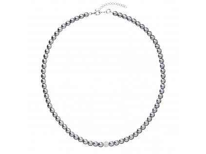 Perlový náhrdelník šedý s Preciosa krystaly 32063.3