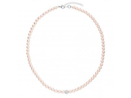 Perlový náhrdelník růžový s Preciosa krystaly 32063.3