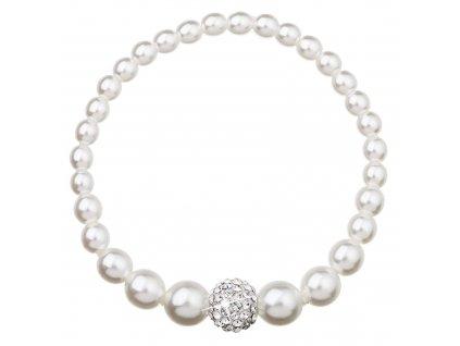 Perlový náramek bílý s Preciosa krystaly 33063.1