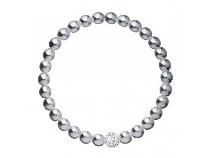 Perlový náramek šedý s Preciosa krystaly 33115.3