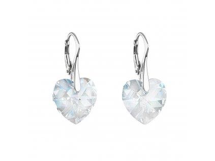 Stříbrné náušnice visací s krystaly Swarovski bílé srdce 31288.1