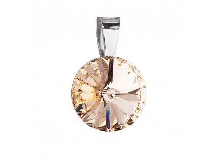 Stříbrný přívěsek s krystalem Swarovski zlatý kulatý 34112.5 golden shadow