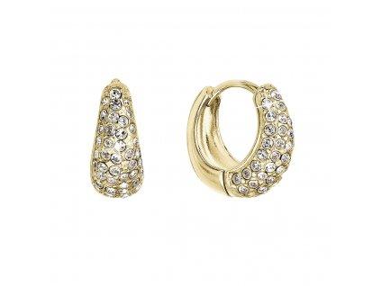 Stříbrné pozlacené náušnice kruhy se Swarovski krystaly bílé 31306.1