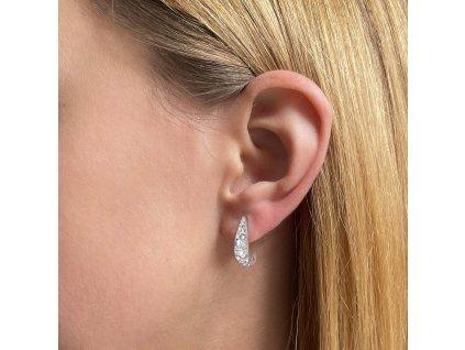 Stříbrné náušnice visací s krystaly Swarovski bílý půlkruh 31173.2 ab efekt