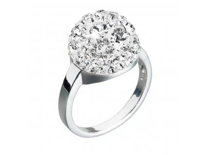Stříbrný prsten s krystaly Swarovski bílá boule 35013.1 krystal
