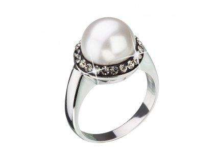 Stříbrný prsten s šedými krystaly Swarovski a bílou perlou 35021.3