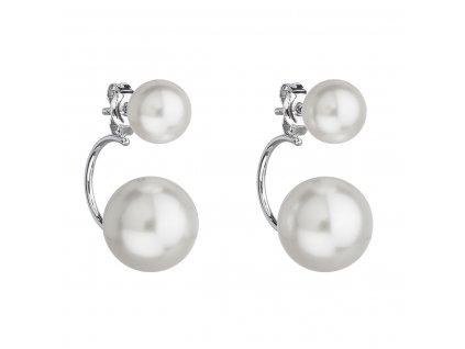 Stříbrné náušnice dvojité s perlou Swarovski bílé kulaté 31177.1