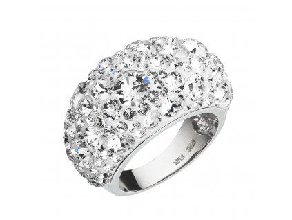 Stříbrný prsten s krystaly Swarovski bílý 35028.1