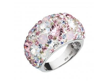 Stříbrný prsten s krystaly Swarovski růžový 35028.3